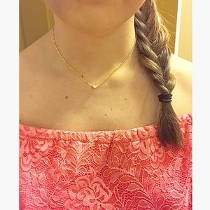 💕 Single Strand Heart Choker Necklace Gold